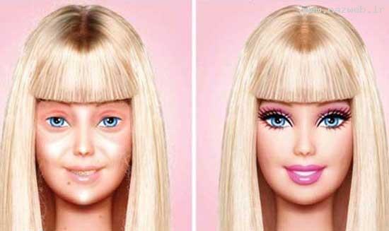 چهره واقعی و دیدنی عروسک باربی بدون آرایش!!