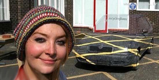 دختر جذابی که قادر است ماشینها را ناپدید کند!عکس