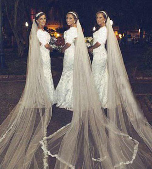 ازدواج عجیب دختران 3 قلو در یک روز  + عکس