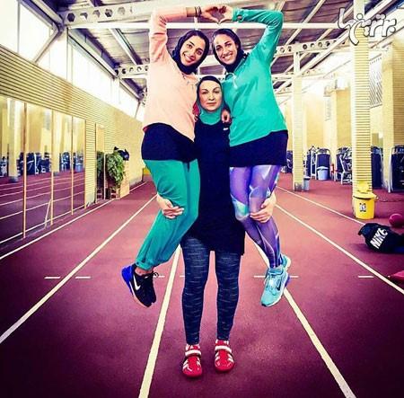 عکسی جالب بانوان تیم ملی دو و میدانی در حال دمبل زدن