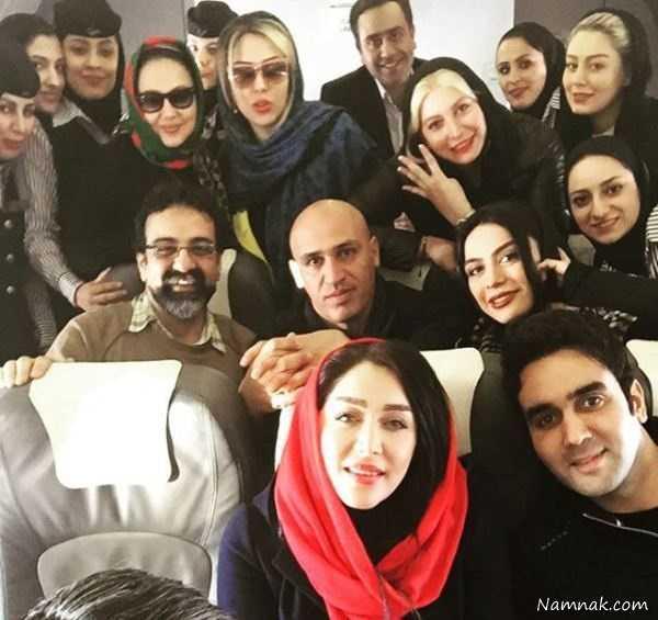 سلفی بازیگران در هواپیما ، ترس بازیگران مشهور زن ، بازیگران در مشهد