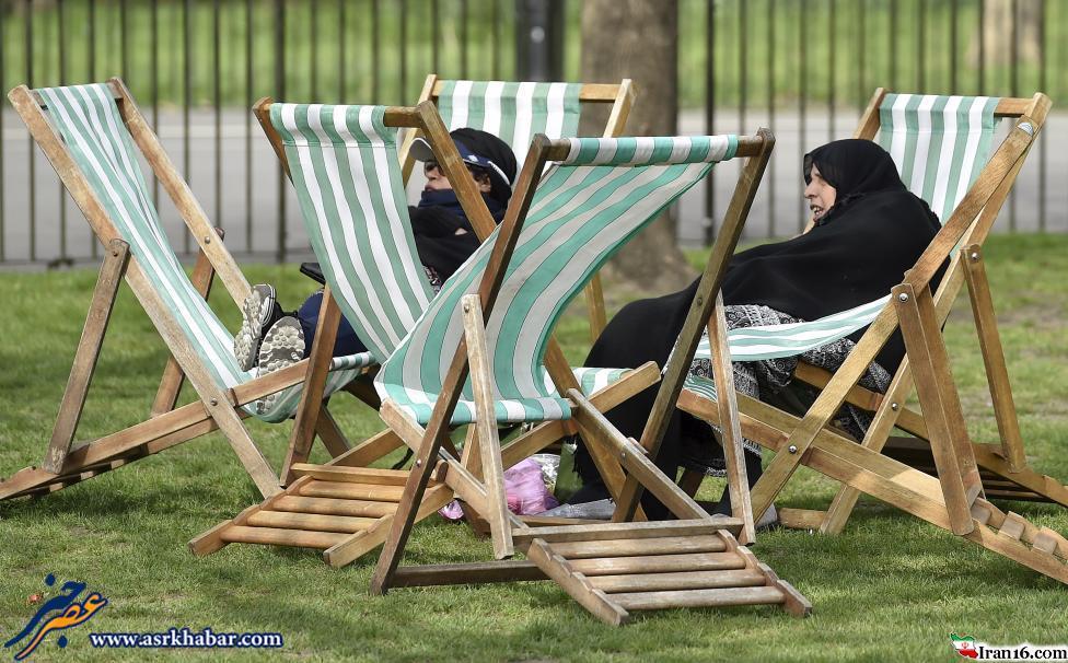 حمام آفتاب زن های مسلمان در لندن +عکس