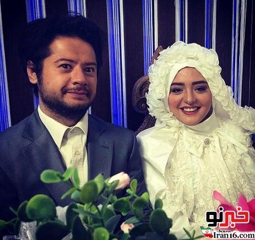نرگس محمدی با لباس عروس در کنار علی صادقی
