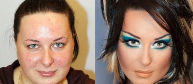 تصاویر تاثیر آرایش بر تغییر چهره زنان زشت