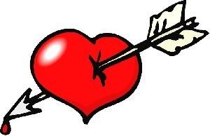 قلب تیر خورده نشانه عشق