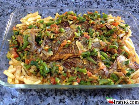 دستور تهیه ماهی و سبزیجات در فر برای شب عید