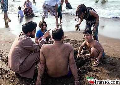 تصاویر: دورهمی جالب روحانیون و مردم در ساحل خزر