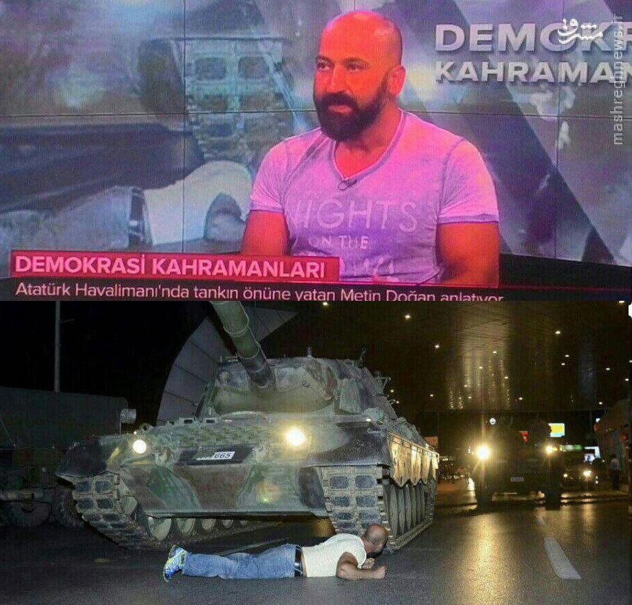 عکس: این مرد شب کودتا جلوی تانک خوابید