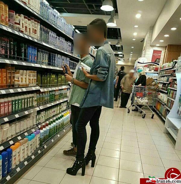 پسری با کفش پاشنه بلند +عکس