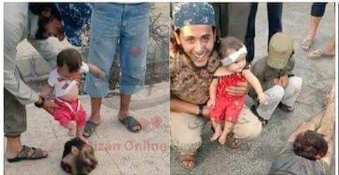 لحظه بازی کردن نوزاد با سر بریده شده سرباز سوری + عکس (16+)