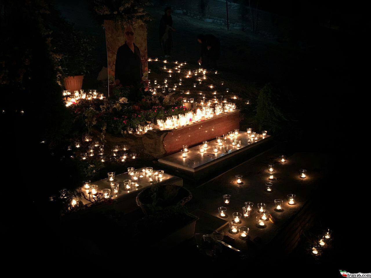 شب اول قبر کیارستمی اینگونه رقم خورد / عکس