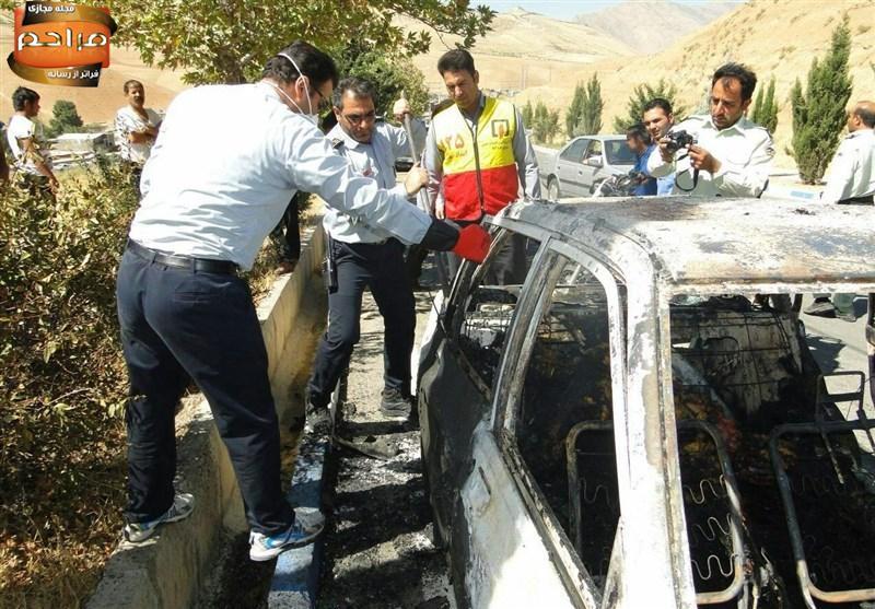 آتش زدن همسر درون پراید در خرم آباد! +تصاویر