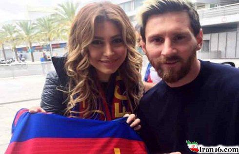 سلفی جالب خواننده زن مشهور با لیونل مسی در لباس بارسلونا +عکس