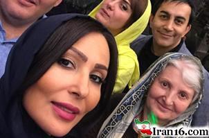 عکس جشن تولد 39 سالگی پرستو صالحی در کنار برادرش و همسر برادرش