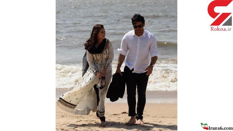 محمدرضا گلزار با پای برهنه با بازیگر زن معروف در ساحل+عکس
