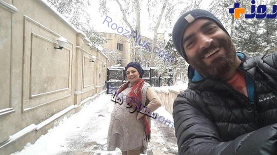 عکس/بازیگر زن معروف در دوران بارداری به همراه همسرش