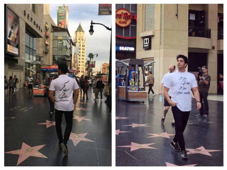 حضور خواننده بنام ایرانی در هالیوود آمریکا با پیراهنی خاص | عکس