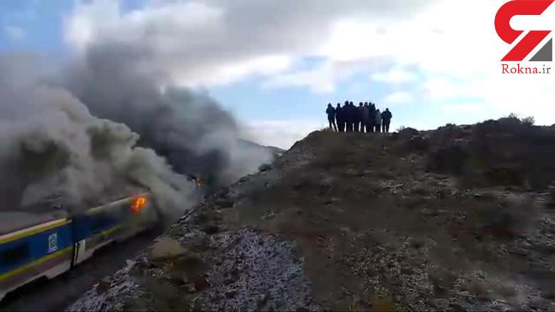 فیلم منتشر نشده از سوختن قطارها در سمنان / می گویند مسئولان بالای تپه بودند