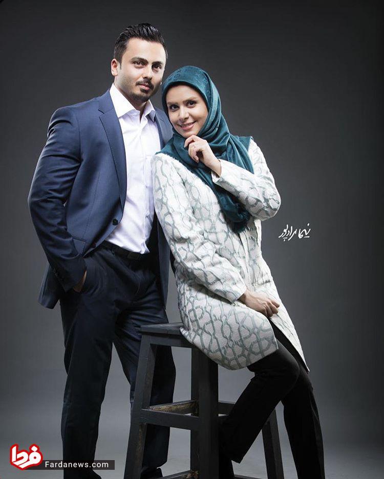خانم مجری در کنار همسرش +عکس