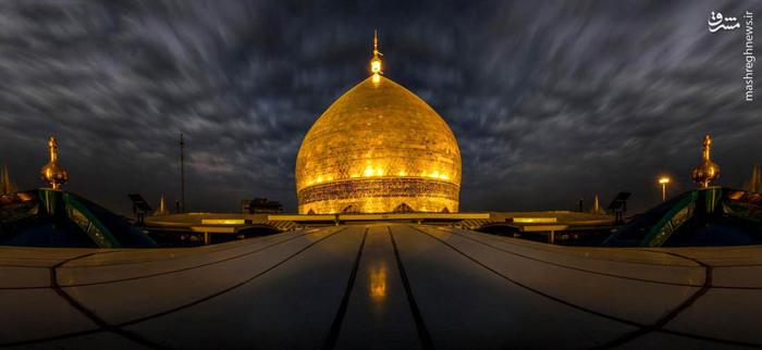 نمایی زیبا از گنبد حرم حضرت علی(ع)