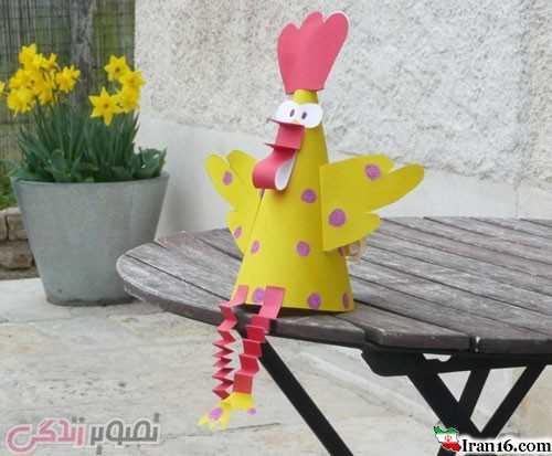 آموزش ساخت خروس کاغذی کلاه جشن بچه ها برای نوروز ۹۶ سال خروس