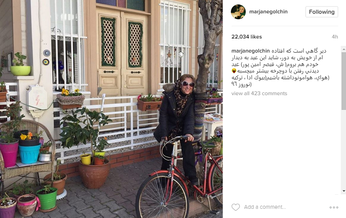 عکس|دوچرخه سواری خانم بازیگر در فرنگ