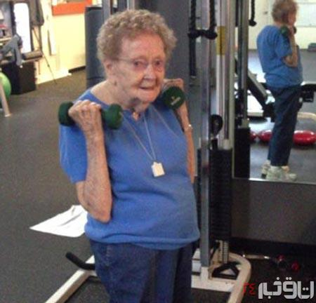 پیرزن ۹۷ ساله قهرمان پرورش اندام !