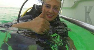 غواصی بی حجاب بازیگر زن ایرانی - عکس