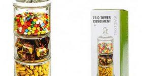خرید آنلاین ظرف شکلات و تنقلات سه طبقه شیشه ای
