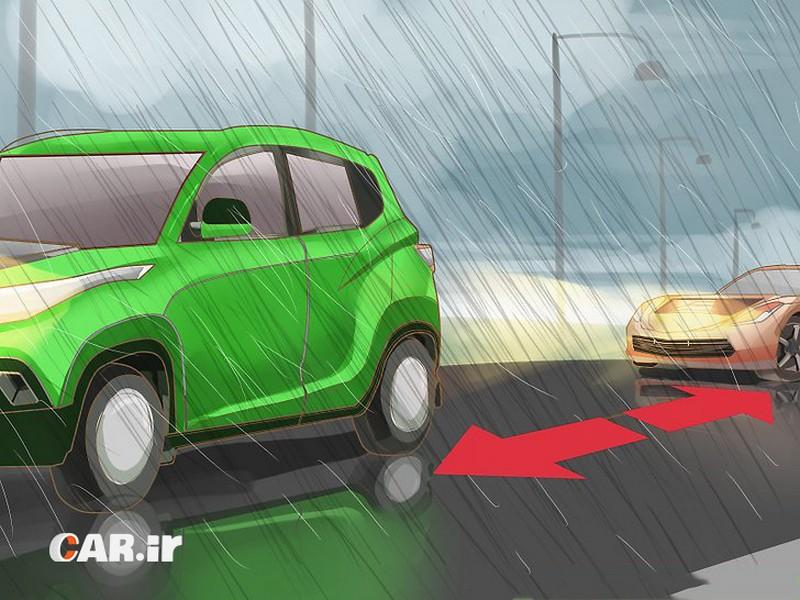 رانندگی در شرایط بارانی اموزش رانندگی در باران علت سر خوردن ماشین