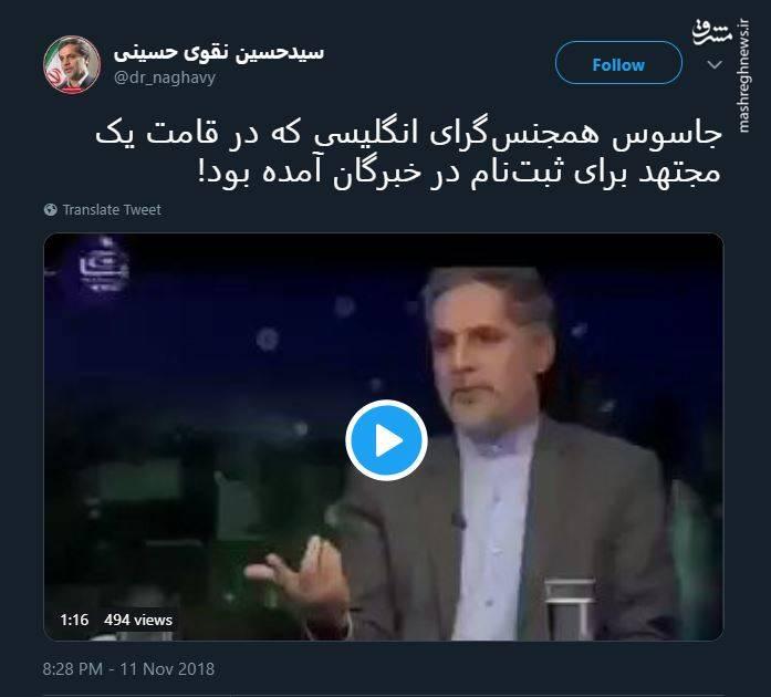 پروژه نفوذ توییتر جاسوسی مجلس خبرگان رهبری نقوی حسینی همجنسگرایی