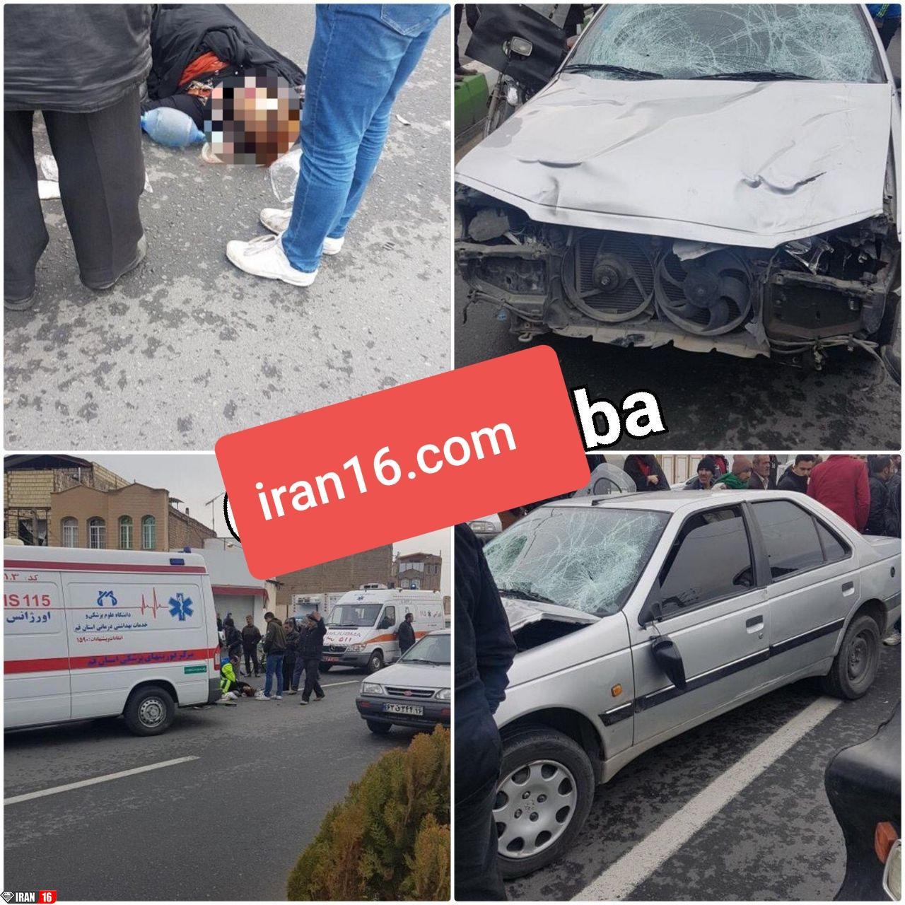 تصادف مرگبار پژو با دو زن قمی