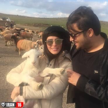عید «مهدی سلوکی» و همسرش در کنار بز و گوسفندها /عکس