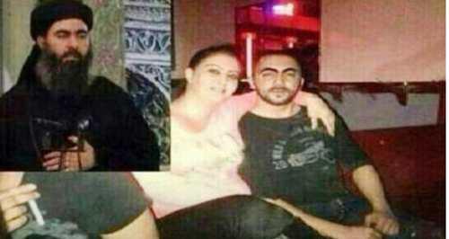 زن تن فروش در کنار خلیفه داعش در مجلس بزم + عکس