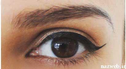 آموزش تصویری آرایش خط چشم گربه ای مخصوص روز و شب