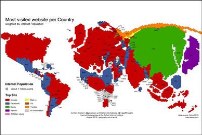 نقشه ی پربازدیدترین سایتهای اینترنتی دنیا