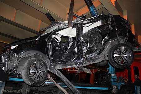 مرگ یک عروس و داماد در تصادف وحشتناک بزرگراه چمران (تصاویر)