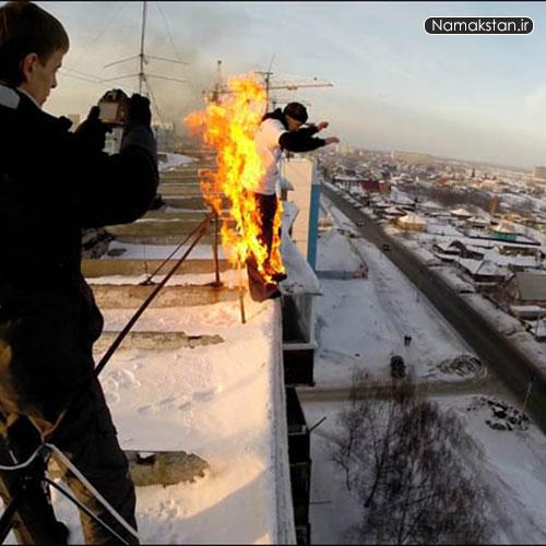 پرش از ساختمان , پریدن از روی برج , الکساندر چرنیکو , آتش زدن خود و پریدن از برج