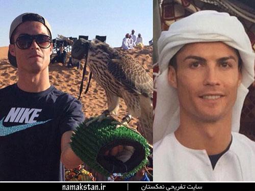 عکس های کریستین رونالدو و پسرش در امارات با لباس عربی