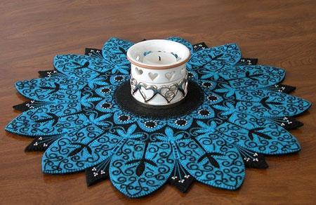 نمونه هایی از رومیزی های نمدی,کارهای هنری با نمد